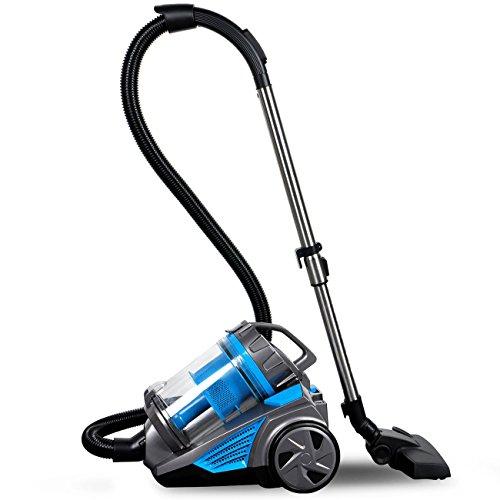 900w Vacuum Cleaner Ciclone 4 Liter Aspirazione Polveri Aspirapolvere Senza Sacco Con La Pulizia Hepa Piano Filtro A Ciclone Pulizia Di Tappeti Estrattore Famiglia Per Tutti I Piani (blu Classe Energetica B)
