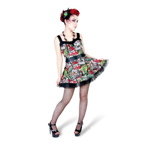 Rockabilly Hell Bunny - Mini abito rockabilly in stile rock'n roll - Fantasia stampata B-Movie con gonna in tulle - Bretelle removibili - XS