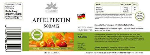 Apfelpektin Tabletten 500mg – Calcium 180 Tabletten