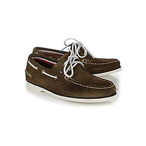 Tommy Hilfiger Men's Classic Suede Slip On Boat Shoe Olive Night