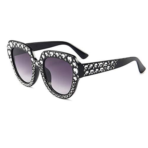 TJJQT Sonnenbrillen Shades Brille Marke Sonnenbrille Frauen Cat Eye Crystal Square Sonnenbrille für Frauen Gradient Pink Female Glasses Sun