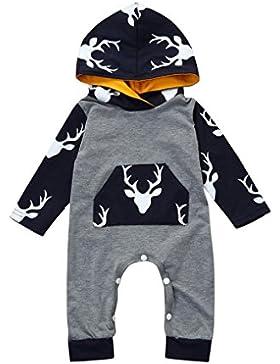 Fuibo Baby Kleidung, Neugeborenen Jungen Mädchen Langarm Deer Mit Kapuze Strampler Overall Kleidung