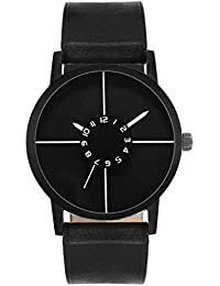 Stylee Lite New Arrival Special Collection Black Round Black Dial Black Leather Strap And Display Day Of Week... - B07FRMBJ8H