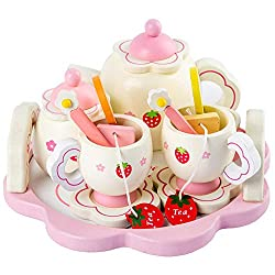 Rocco Kitchen Toys . - Girls Toys simulate Wooden Kitchen Toys pink Tea Set Play House Educational Toy Tools Baby Early Education Puzzle Tableware Gift - by 1 PCs
