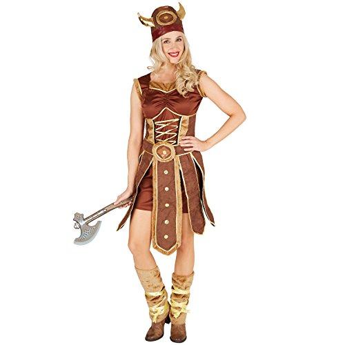 Wikinger Zeigen Kostüm - TecTake dressforfun Frauenkostüm Wikinger | Schönes Kleid mit Schürze | inkl. Beinstulpen und Wikinger Hut (XXL | Nr. 301353)