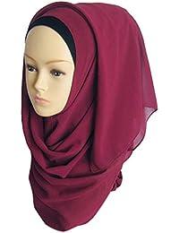 fanbufan Hijab Foulard à Enfiler Avec Bonnet Intégré Pour Femme Musulmane  Voilée Châle Islamique Mousseline 2d79e3f785c
