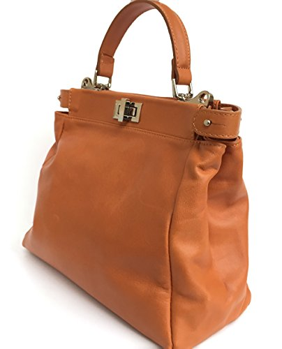 SUPERFLYBAGS Borsa Donna in vera pelle sauvage morbida modello Siena Made in Italy cognac