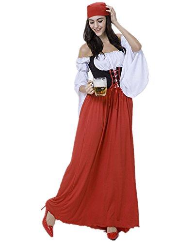 Imagen de disfraz de bavara mujer vestido de oktoberfest cosplay criada/pirata traje medieval talla xl