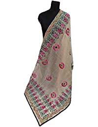 Mintt Women's Off White Hand Embroided Chanderi Fulkaari Dupatta