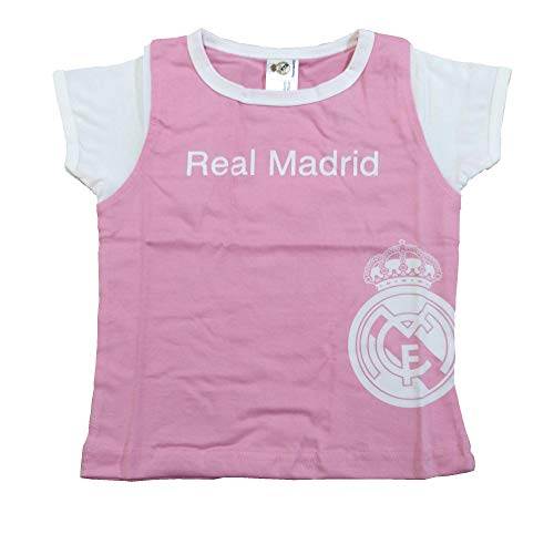 Camiseta Real Madrid Niñas - Rosa - Escudo Real Madrid Blanco (6 Meses)