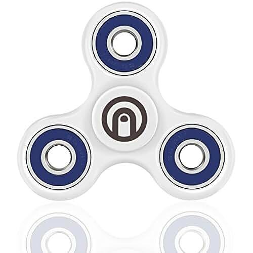 fidget spinner el nuevo juguete de moda SPIN ME UP / Fidget Spinner / Hand Spinner / Tri-Spinner / Fidget juguete para adultos y niños / Corazón de cerámica Negro Alta Calidad / 9 colores disponibles (Blanco - Azul)
