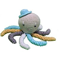 Pulpo amigurumi para recién nacido en color aguamarina, blanco gris y amarillo. Pulpo de ganchillo - crochet para bebé, ideal como regalo de nacimiento.