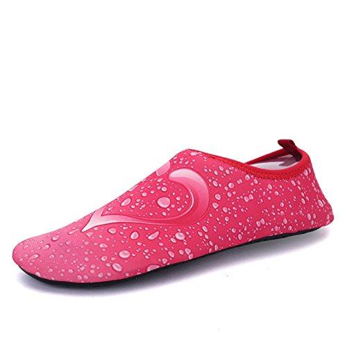 Xinyi Aqua Water scarpe spiaggia nuoto, asciugatura rapida slip on yoga scarpe di calzini per unisex, Panno, Black1, 3XL43-44 pink3