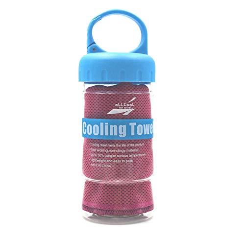 Ao Tuo Sommer Hitzschlag kühlendes EIS towe kühles EIS Handtuch schnell trockenes Handtuch mit Flasche für Yoga Übung schnelle Abkühlung Sport (Rose Red) (Eis Angeln Handtuch)