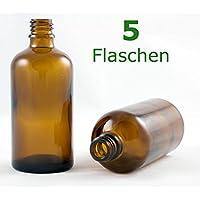 Braunglasflasche 100 ml DIN 18 ohne Verschluss, Glasflaschen, Apothekerflaschen, Tropfpipetten-Flaschen, Pipettenflaschen perfekt für Essenzen, Extrakte, Öle, Parfüme etc.