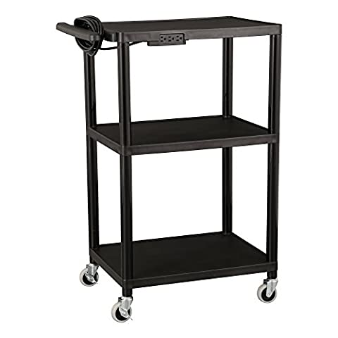 Norwood Commercial Furniture Nor de oug1042-So Adjustable Height Mobile Black Plastic Utility AV Cart with Power Strip