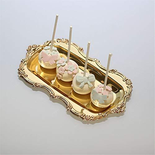 AZX Metall Serviertablett Schöner Kuchen Tablett Mit Deckel Eisen Rechteck Snack Candy Dessert Tee Servierplatte Frühstück Abendessen Platter Küche Geschirr Zubehör (Gold) (Gold-kuchen-deckel)