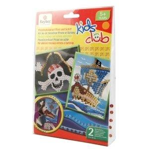 RAYHER 7554000Mosaic Sticker Set Toddler Pirate, 9Pieces–2Porcelain Platters, 15x 20cm