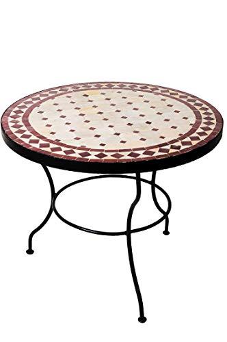 Original Marokkanischer Mosaiktisch Couchtisch ø 60cm Groß Rund   Runder Kleiner Mosaik Gartentisch Mediterran   als Tisch Beistelltisch für Balkon Oder Garten   (Beige Bordeaux)