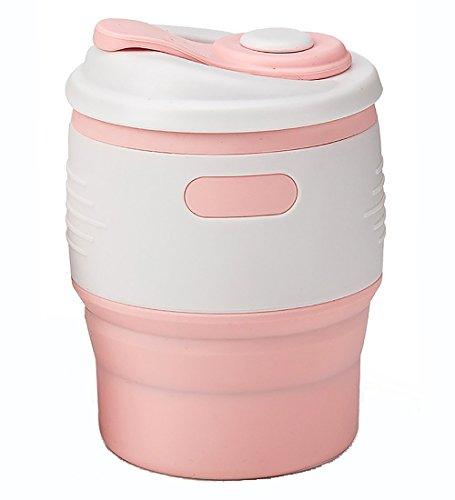 pbar Kaffeetasse/Tasse, BPA-frei tragbar und zusammenklappbar, wiederverwendbar Kaffeetassen mit Deckel und auslaufsicher, aus Silikon in Lebensmittelqualität. Gym, Yoga, Outdoor und Camping 350ml, Silikon, rose, 350ML (Avengers-kunststoff-cups)