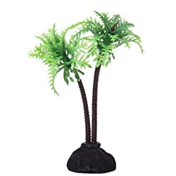 Imported Coconut Tree Plastic Aquarium Plants Ornament for Fish Tank - 10cm