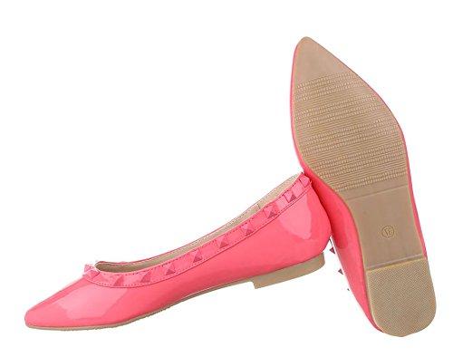 Damen Ballerinas Schuhe Lofers Espadrilles Pumps Pink