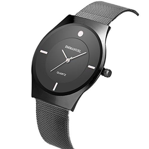 Armbanduhr ultra-dünnen minimalistisch Mesh Edelstahl band Herren Männer Schwarz SIBOSUN Quarzwerk wasserdicht