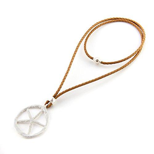 Lange und kurze Halskette mit Leder- und Magnetverschluss. -