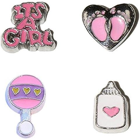 Niña (B)- New born - juego de 4 colgantes flotante - it's a Girl, rosa en forma de corazón en los cascos, y botella
