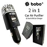 BOBO 2-in-1 Car Air Purifier, Freshener Adapter with 2 USB Ports, Chrome HEPA