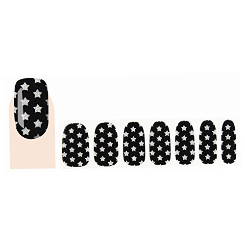 GLAM UP - Stickers Vernis Adhésifs ongles - Noirs Etoiles Blanches