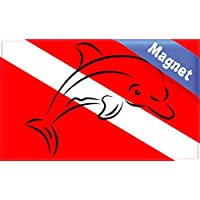 5in x 3in Dolphin Diver Down Flag magnete magnetico veicolo segno