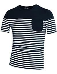 Allegra K Hommes Poche Appliquée À Rayures T-shirt