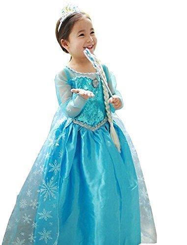 UUstar® Prinzessin Kostüm Karneval Verkleidung Party Cosplay Kleid Anna Elsa (100, (Elsa Kostüme Disney Princess)