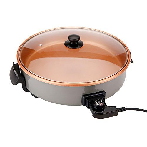Novohogar Pizza Pan Sartén eléctrica multifunción. Multicazuela/Paellera/Pizza Pan con Tapa de Cristal de 40 cm. de diámetro, 7 cm. de Profundidad y 1500W de Potencia