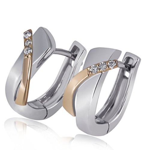 Goldmaid Damen-Creolen Weiß u. Rotgold 585 6 Diamanten SI/H 0,05 Karat Ohrringe Brillanten Schmuck