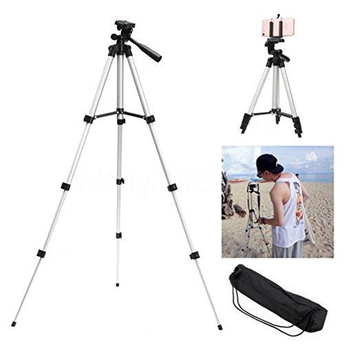 Teleskop Kamera Stativ Handy Einbeinstativ Ständer Halterung + U-Clip 360° horizontal und 90° vertikal schwenkbar mit Griff zum Einstellen Kopf Position, silber (Teleskop-sicherheits-kamera)