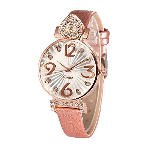 Quartz Uhren für Damen Frauen, Paticess Mode Strass Herz Pu-Lederband Analog Damenuhr Armbanduhr Quartzuhr mit Batterie