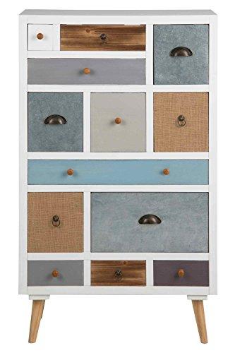 Kommode, Sideboard, Anrichte, Highboard, Flurkommode, Schlafzimmerkommode, weiß, braun, grau, blau, 13 Schubladen