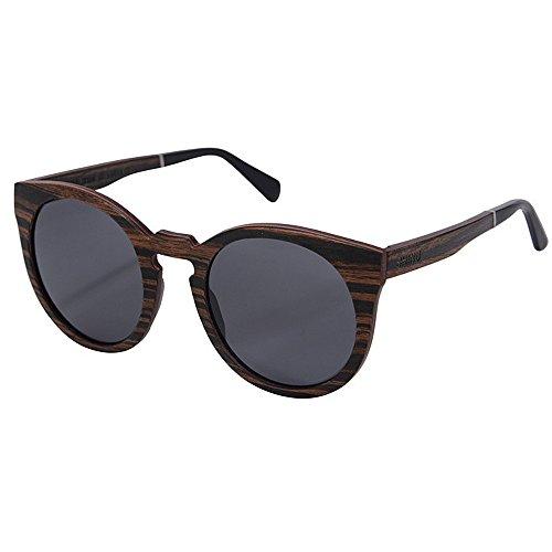 Yiph-Sunglass Sonnenbrillen Mode Sonnenbrillen für Herren Handgefertigte Sonnenbrillen aus Holz Polarisierte TAC-Linsen UV-Schutz Fahren Strandurlaub Sonnenbrillen (Farbe : Grau)