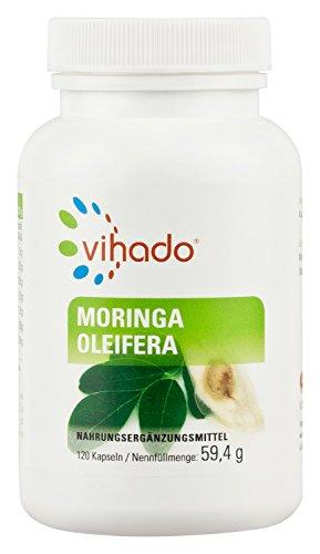 Vihado Moringa Oleifera Kapseln - Reines Moringa Pulver hochdosiert, 120 Kapseln, 1er Pack (1 x 59,4 g)