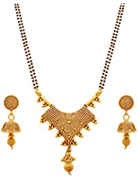 Traditional Ethnic Spiral Gold Plated Black Bead Chain Designer Mangalsutra With Earrings For Woman And Girls...