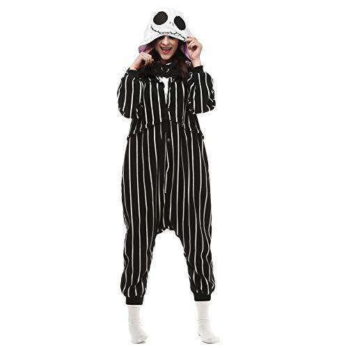 Kostüme Pyjamas Bekleidung Animal Erwachsene Unisex Schlafanzüge Karneval Onesies Cosplay Jumpsuits Anime Weihnachten Halloween Nachtwäsche Mädchen Jack Skellington schädel skelett ()