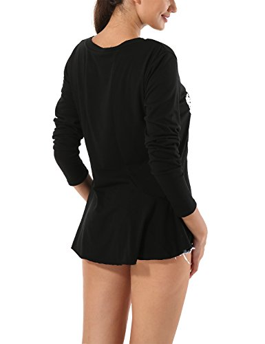 Yidarton Femme Tee Shirt à Manches Longues Top Grande Taille Col Rond Hauts Noir