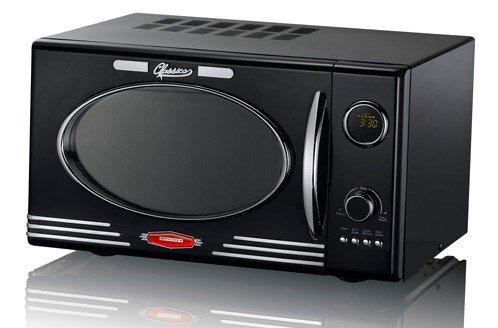 Micro-ondes rétro de 900 watts noir 25 litres 1000W gril 8 programmes Melissa 16330103