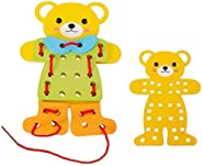 SUPERIMIO 2 pcs/Set Baby Learning Educational Wooden Toys Board Bear Dress Changing Puzzle Jigsaw Matching Enl