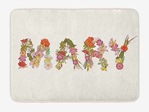 Mary Bath Mat, Blossoming Flowers with Daisies Roses and Poppies Traditional Well Known Girl Name, Plush Bathroom Decor Mat with Non Slip Backing, 23.6(L) X15.7(W) inch, Multicolor