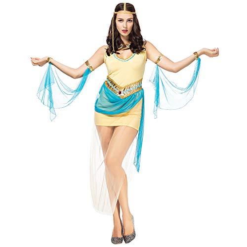 Frau Cos Halloween Kostüm sexy griechische Göttin Alten Cleopatra Kriegsgöttin Kostüm (einschließlich Kopfbedeckung + Ärmel + Rock),Beige,M