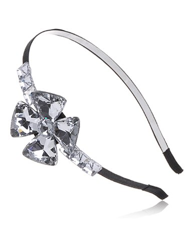 Alilang Silber Ton diamond-shape Kristall Strass Blumen Filigran Brautschmuck Haarschmuck Haarkamm