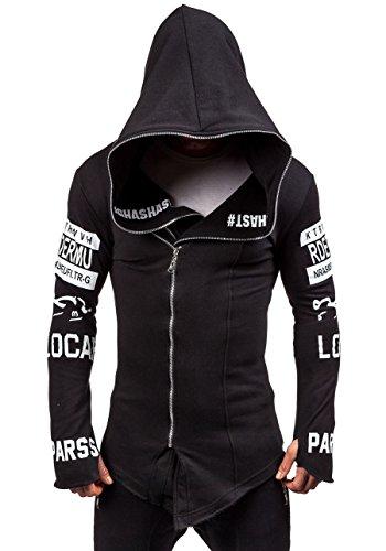 BOLF Herren Kapuzenpullover Sweatjacke mit Kapuze Sweatshirt Pullover Hoodie Lang Mix 1A1 Schwarz_2036